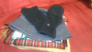 "My gently used scarves, mittens and hat I am donating to the ""Big Bundle Up"" project."