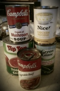 my canned goods I am donating tonight.