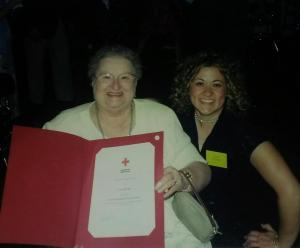 "Cora and I in 2002 at out Red Cross Volunteer Banquet. I have her the ""Hard Working Old Lady Award"".  I was a joke between us."