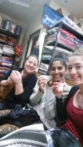 Drinking our chia in the textile shop.
